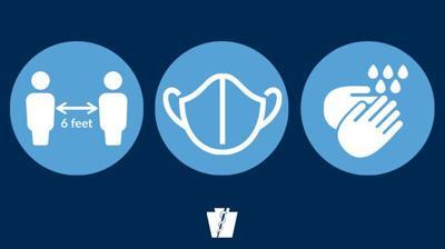 mask social distancing handwashing logo covid-19