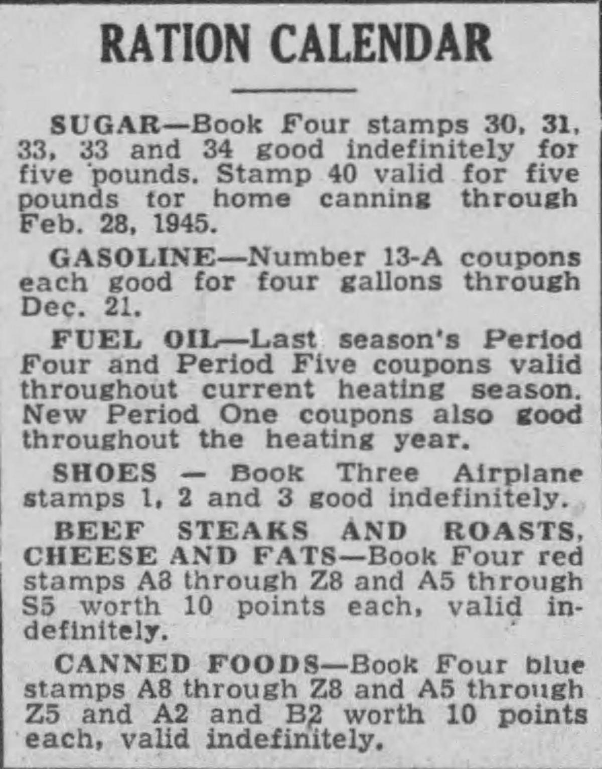 Ration calendar 1944