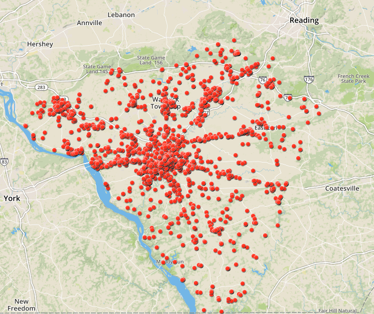 Map: Thousands of drug overdoses over 3 years in Lancaster ... on lancaster pa historical map, millersville pa map, lancaster pennsylvania, cove gap pa map, pequea township pa map, cumberland county, bed breakfast lancaster pa map, bucks county, downtown lancaster city pa map, schuylkill river pa map, adams county, berks county, chester county, amish school shooting, delaware county, york county, allegheny county, dauphin county, lancaster national soccer center field map, camden pa map, longwood gardens pa map, western pa waterfalls map, franklin county, virginia pa map, jacobus pa map, safe harbor dam pa map, amity township pa map, lancaster bible college pa map, west chester, utica pa map, montgomery county, pennsylvania dutch, french creek state park pa map, philadelphia county, amish pa map,