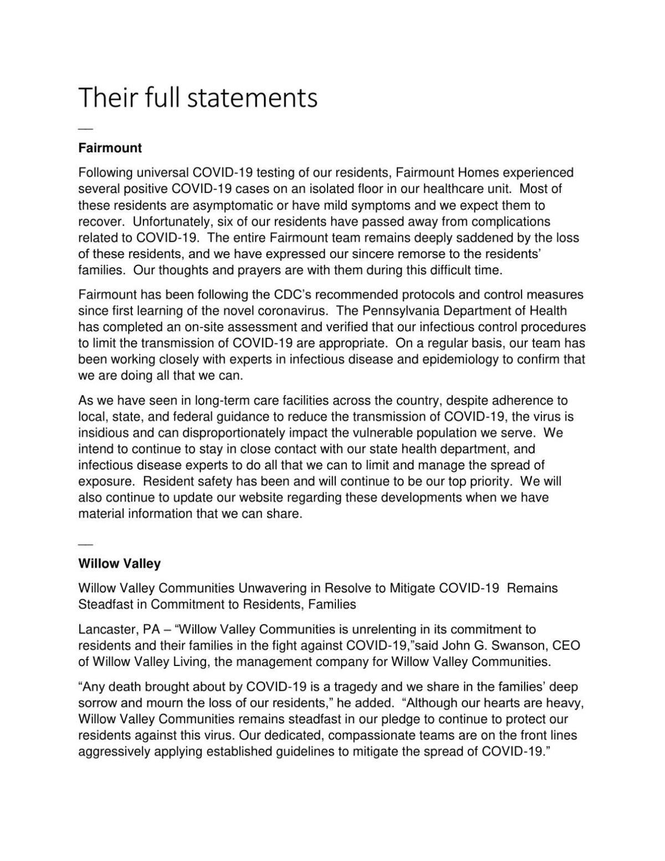 Fairmount & Willow Valley statements