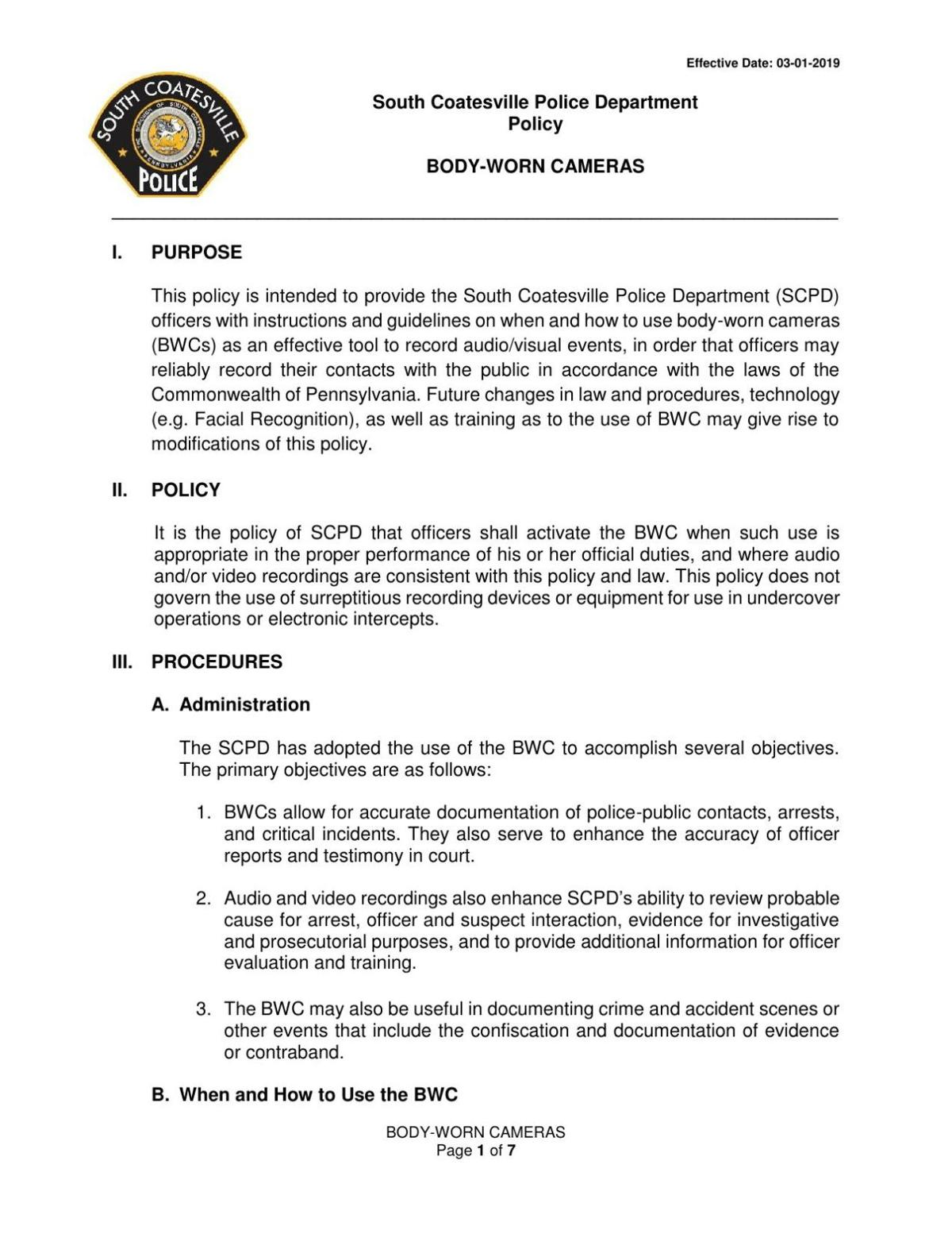 South Coatesville policy on body-worn cameras