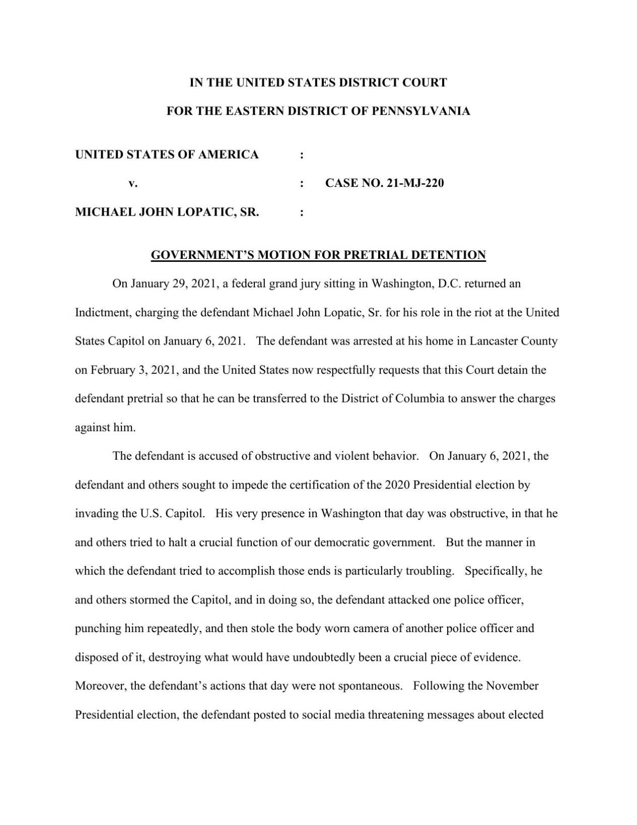 Michael Lopatic Charging Documents.