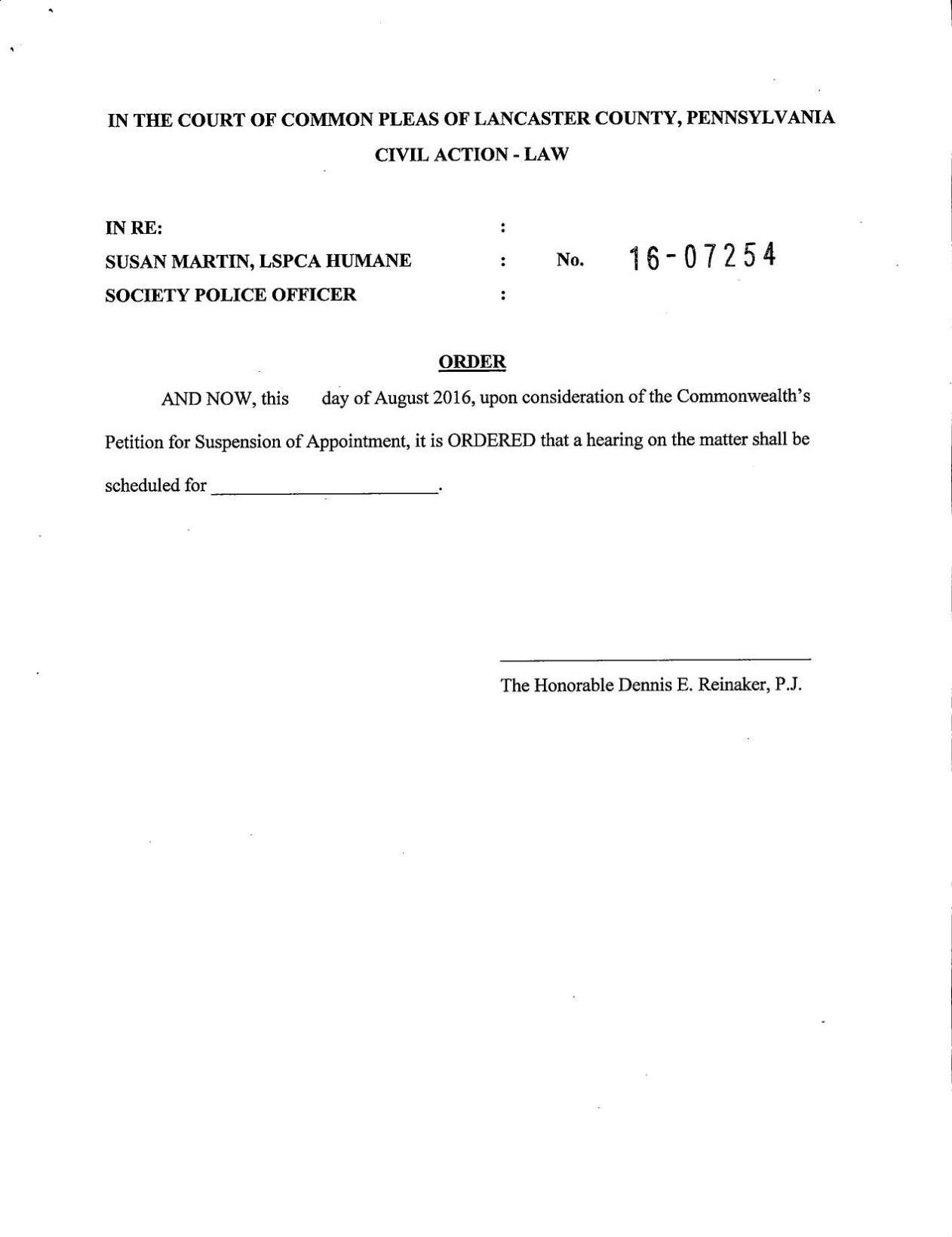 Commonwealth's Petition for suspension of Appointment