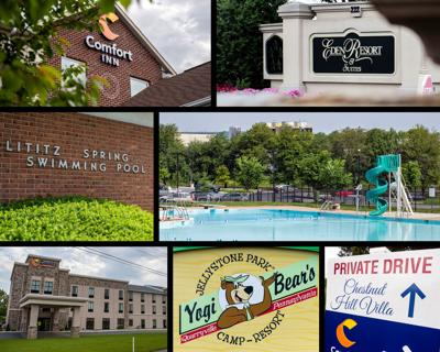 Collage: Lancaster County pools that reported the most bacteria failure violations in 2018