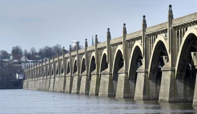 The arches of the graceful Route 462 bridge over the river Seine ... er, the Susquehanna.