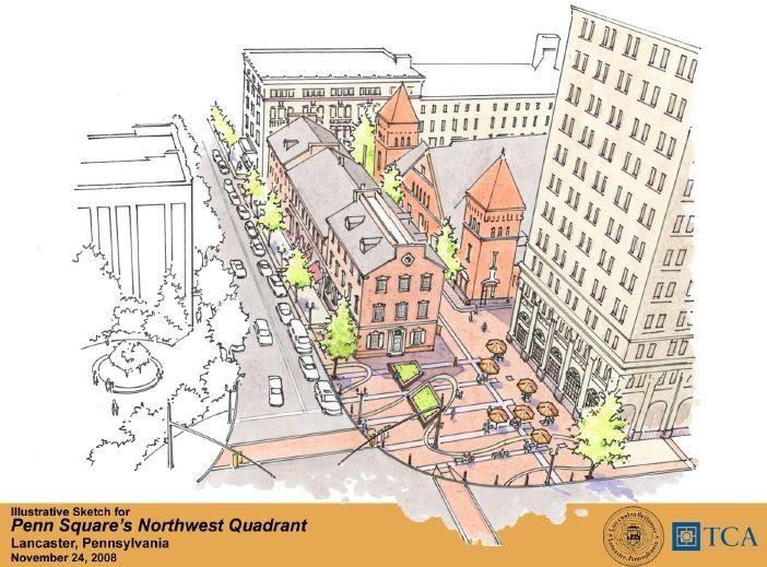 Market streetscape sketch