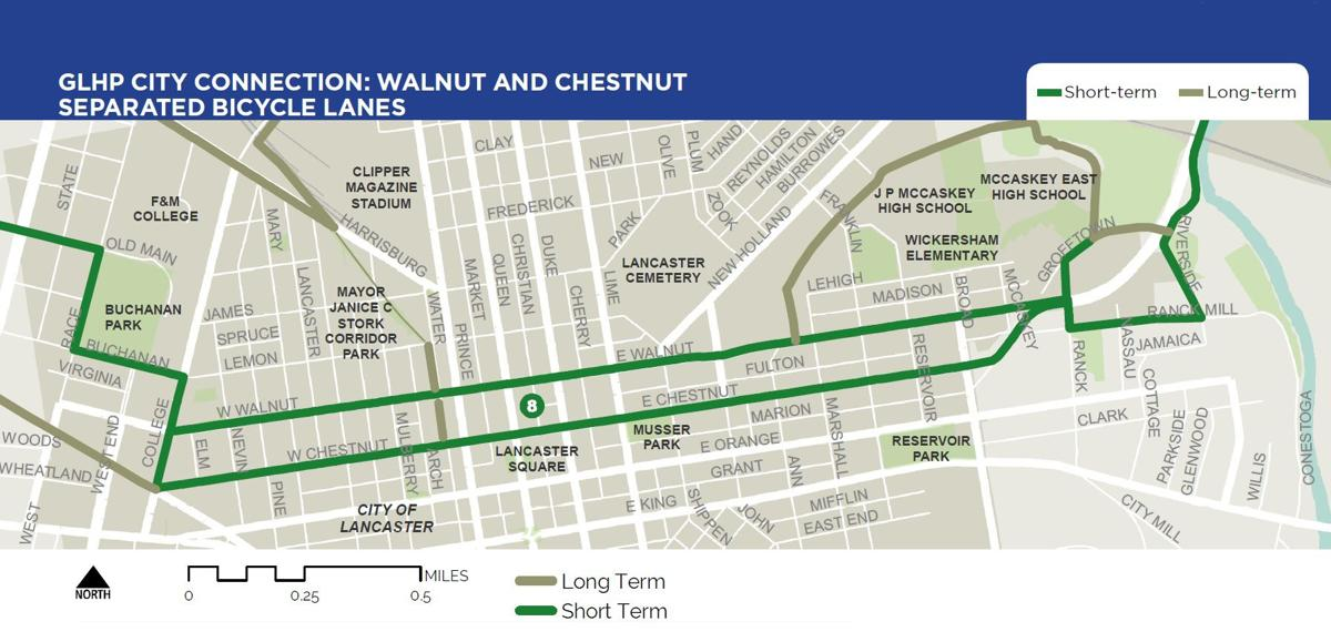 Map: Walnut and Chestnut street bicycle lanes
