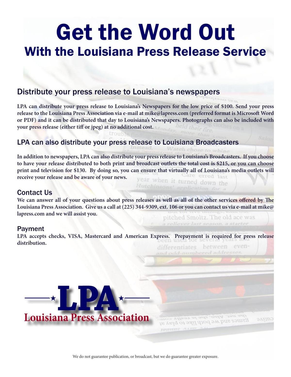Louisiana Press Release Service