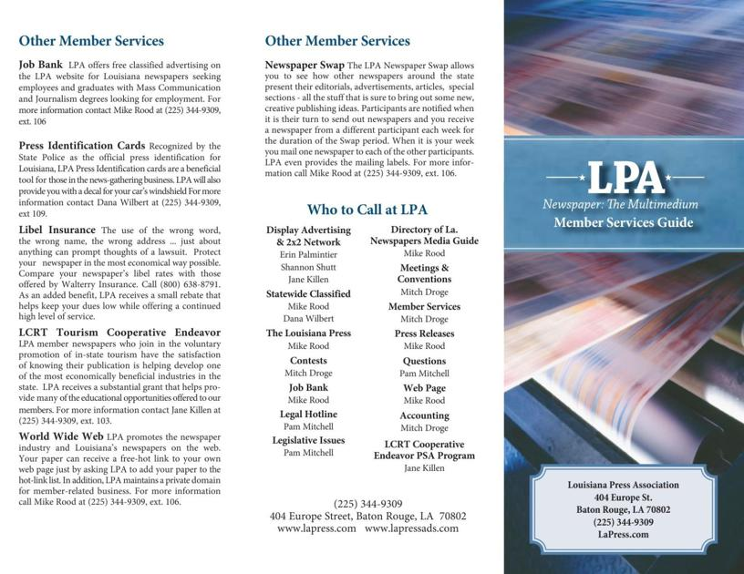 Lpa Member Services Brochure  Louisiana Press Association Member