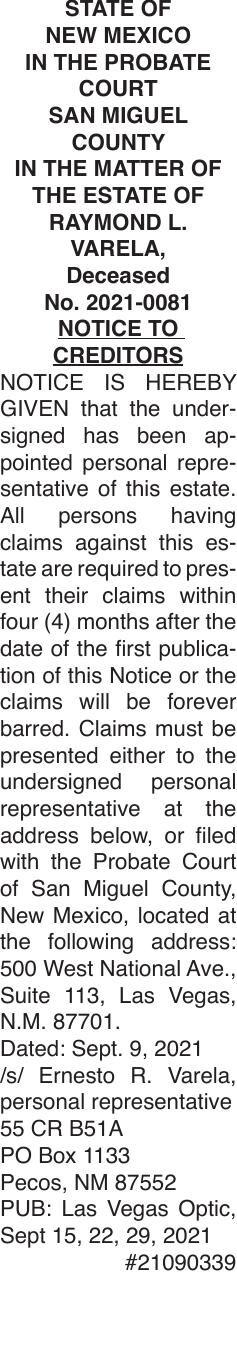 Notice to Creditors - Raymond Varela