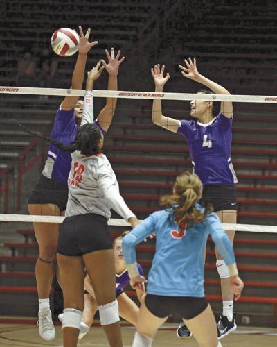 NMHU Volleyball block vs UNM