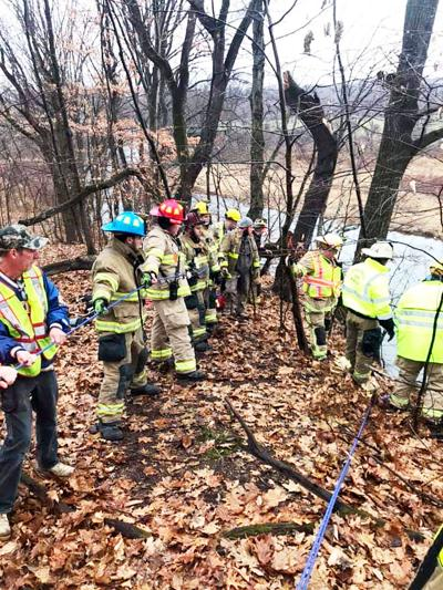 Fire crews rescue person, dog stuck on Unity Twp. hillside