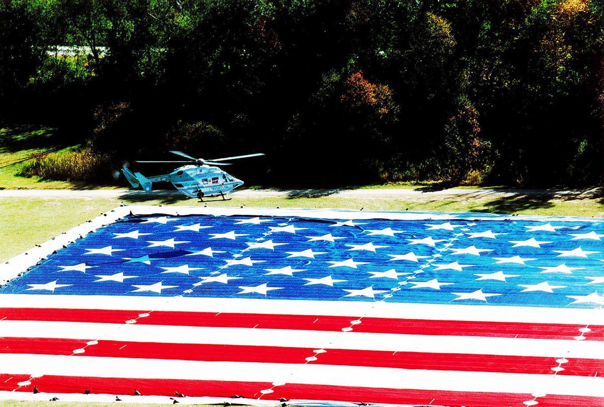 Big flag being unfurled