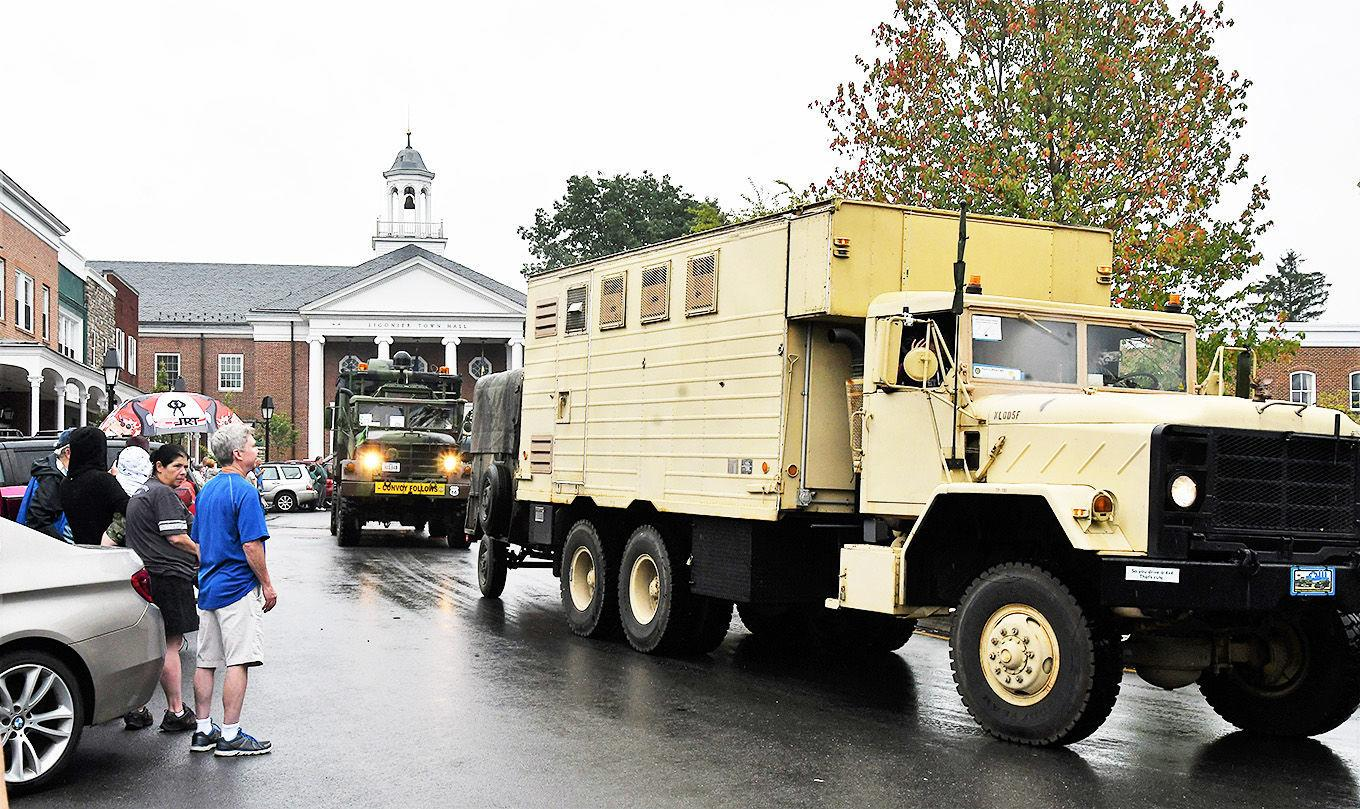 Military vehicle convoy passes through Ligonier