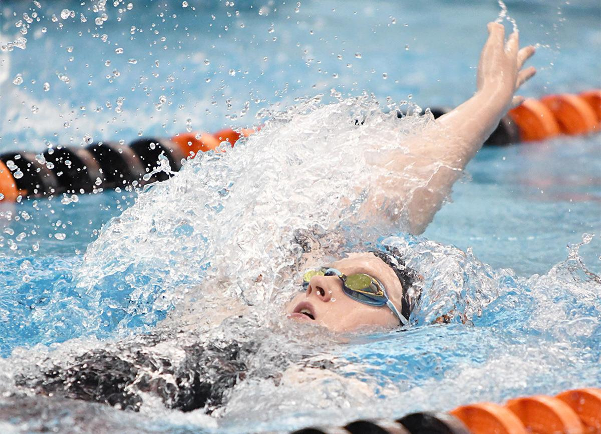 GL's Brewer does the backstroke in 200 medley relay