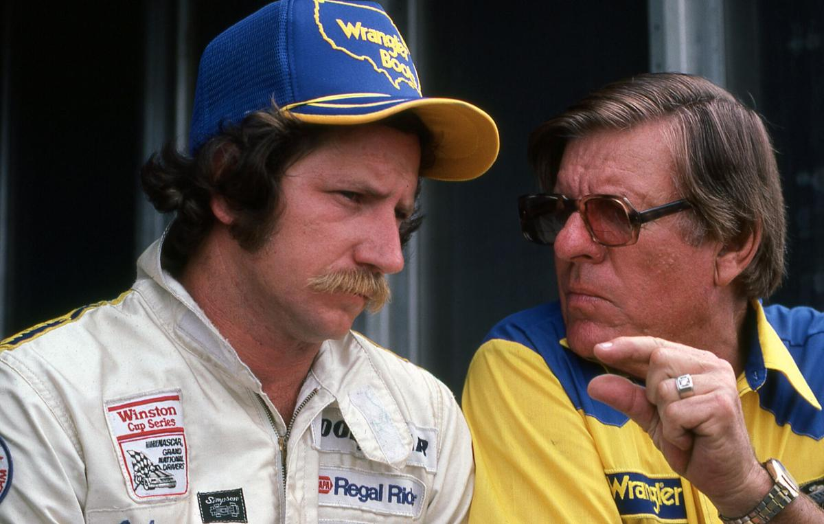 Dale Earnhardt with Bud Moore at Daytona 1982