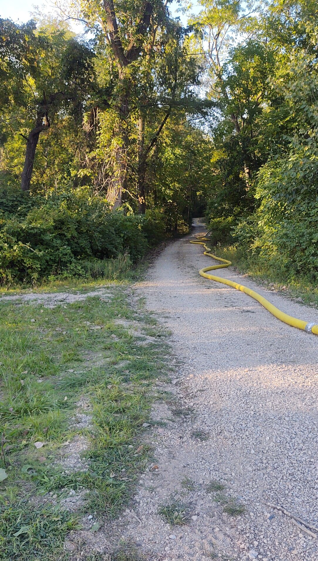 Fire hose extending up hill to former Rose Hill Manor