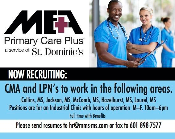 MEA is looking for CMA and LPN's