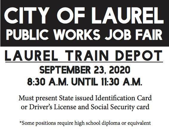City of Laurel is holding a Public Works Job Fair on September 23!