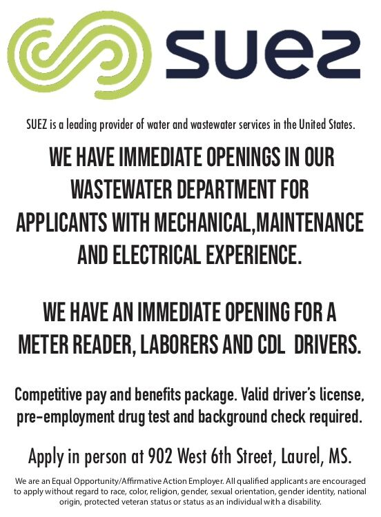 SUEZ HAS IMMEDIATE OPENINGS!