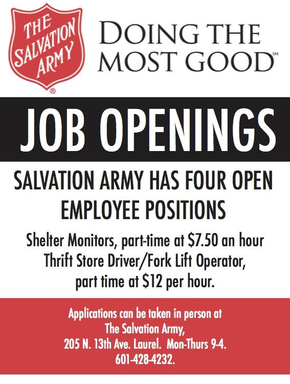 Salvation Army has FOUR employee positions