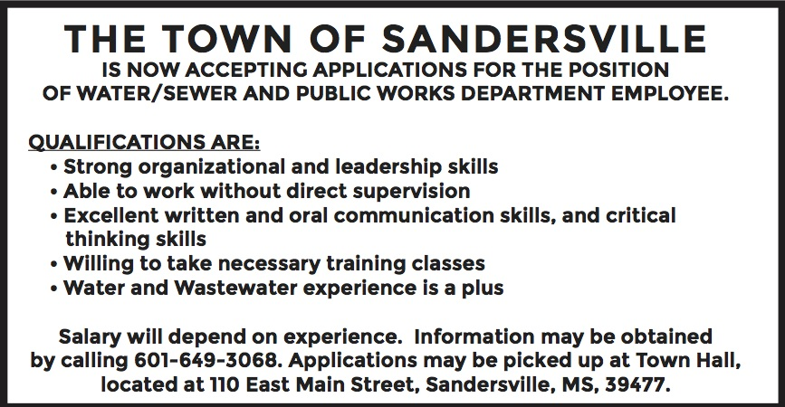 Town of Sandersville is hiring for the position of water/sewer and public works department employee