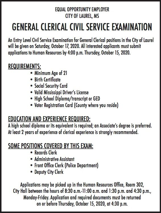 City of Laurel is hiring for a General Clerical position