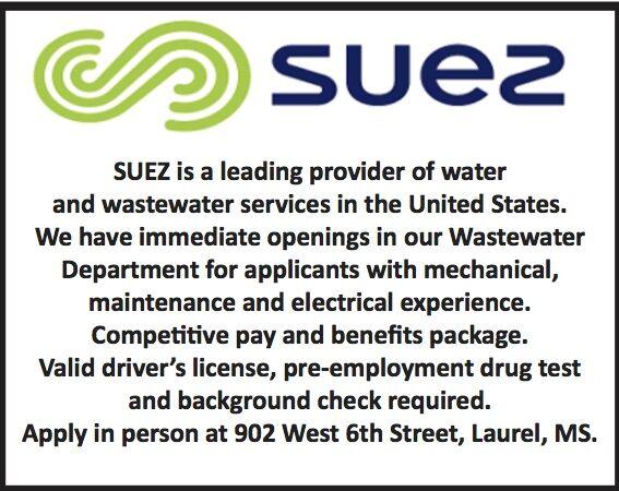 Suez is hiring in their Wastewater department.