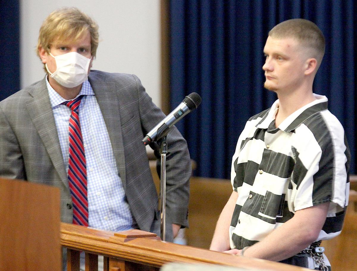 5.19 School thieves, Brian Brewer stands before the judge with public defender Patric Pacific. (Photo by Mark Thornton).jpg