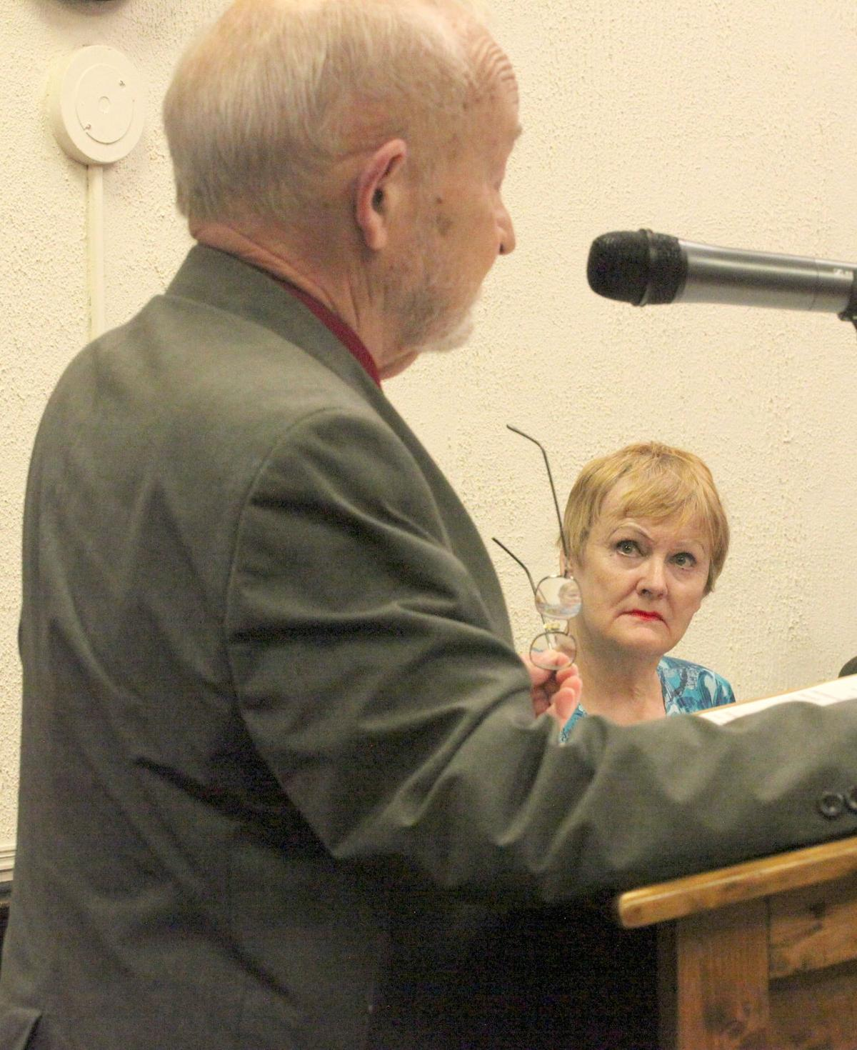 Attorney J. Ronald Parrish addressed the court as client Mary Ellen Senne looks on.jpg