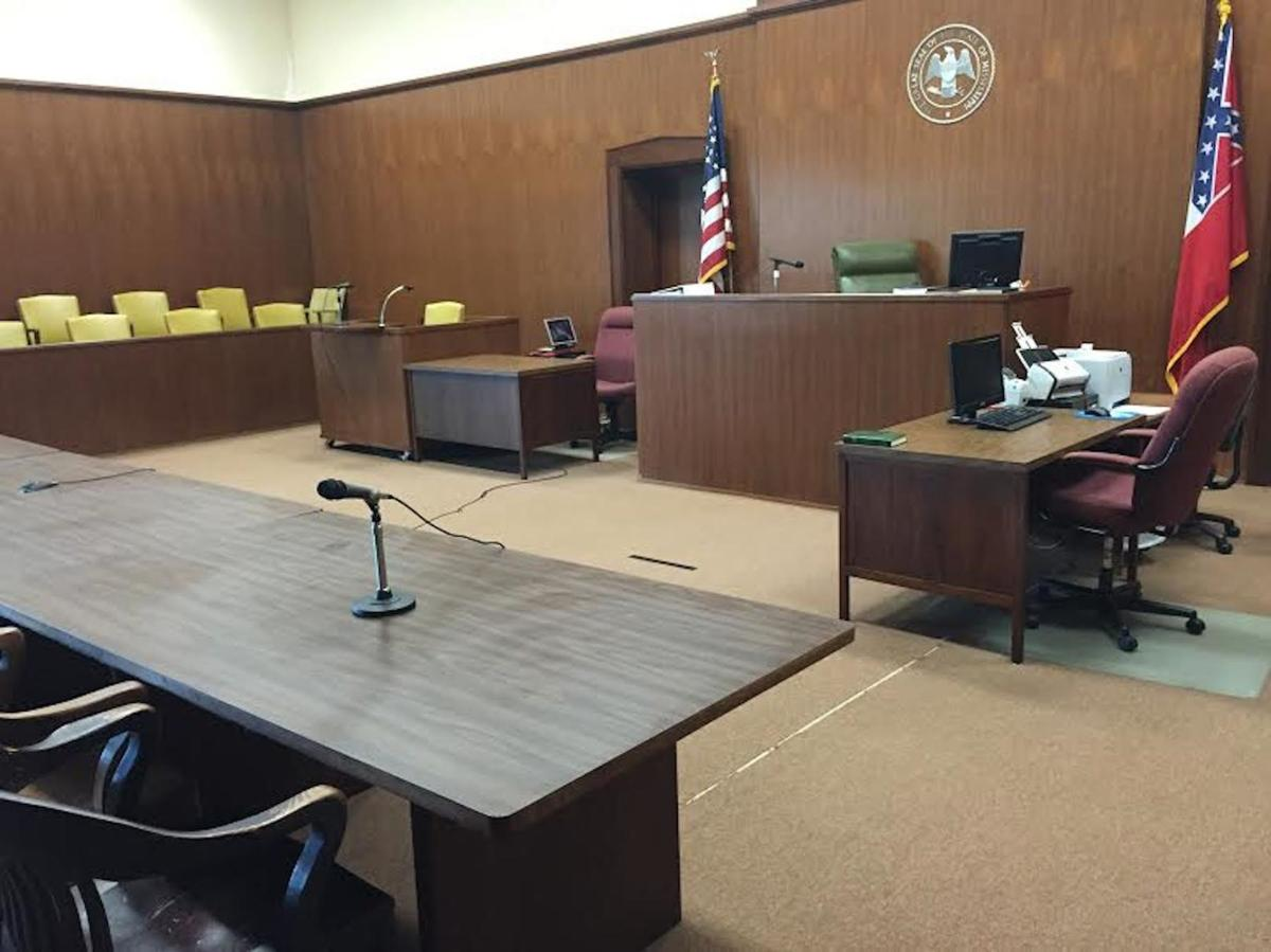 The court room in the Franklin County Courthouse where the trial will take place.