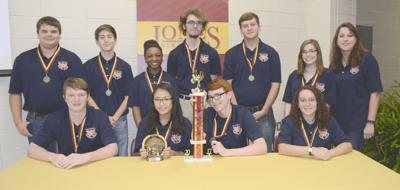 The fifth-seeded Wayne County High School mathletes knocked-off the top-rated teams in the sixth annual JC Bobcat Math League's Super Bowl playoffs to claim the championship for the first time in the Bobcat Math League format. Front row, from left, Dakota Brewer, Mona Heng, Nick Cooksey and Megan Sickinger; standing, Byron Kogutkiewicz, Luke Bowles, K Nija Russell, Joshua Curry, Hayden Brewer, Allison Walters and coach Allison Clark.