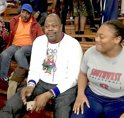 Hall-of-Famer in the house — Patrick Ewing, who was a perennial NBA All-Star and member of the Olympic Dream Team, was at Jones College Thursday night to watch the Bobcats' matchup with Southwest. Ewing, who is now the coach at his alma mater Georgetown, was reportedly recruiting JC star Galen Alexander of Breaux Bridge, La. (Photo by Shawn Wansley/JCJC)