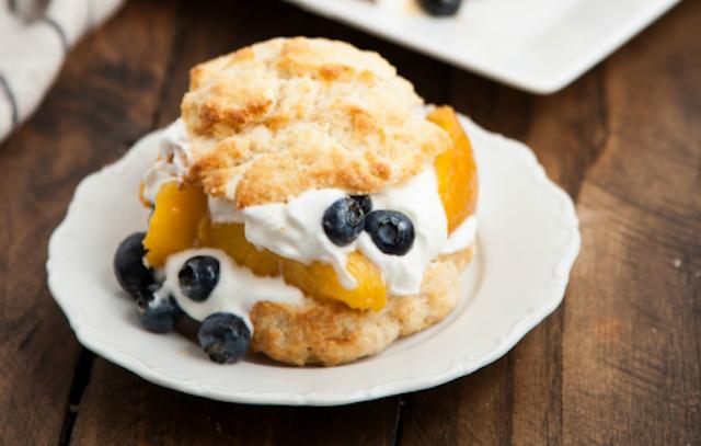 Blueberry peach shortcake