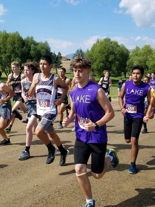 At the start of the boys' race