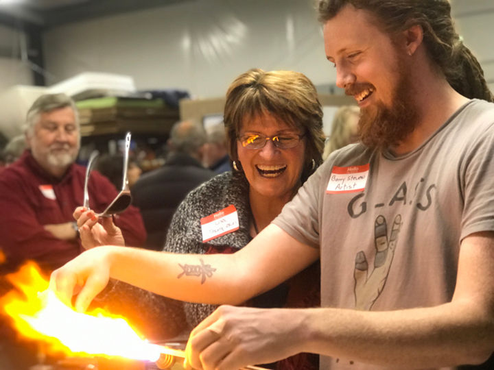Barry Stevens demonstrated glass blowing
