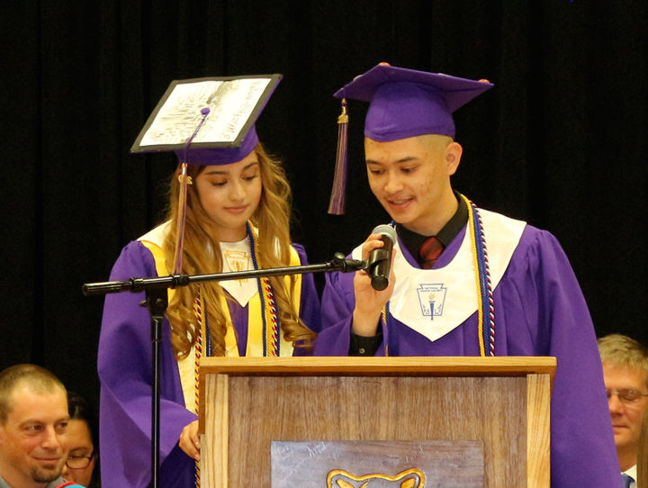 Co-valedictorians Bianca Gonzales and Damian Medina