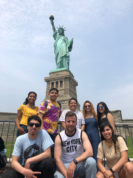 With the Statue of Liberty