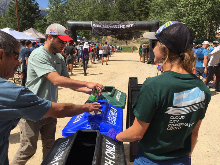 Recycling station at the Twin Lakes aid station