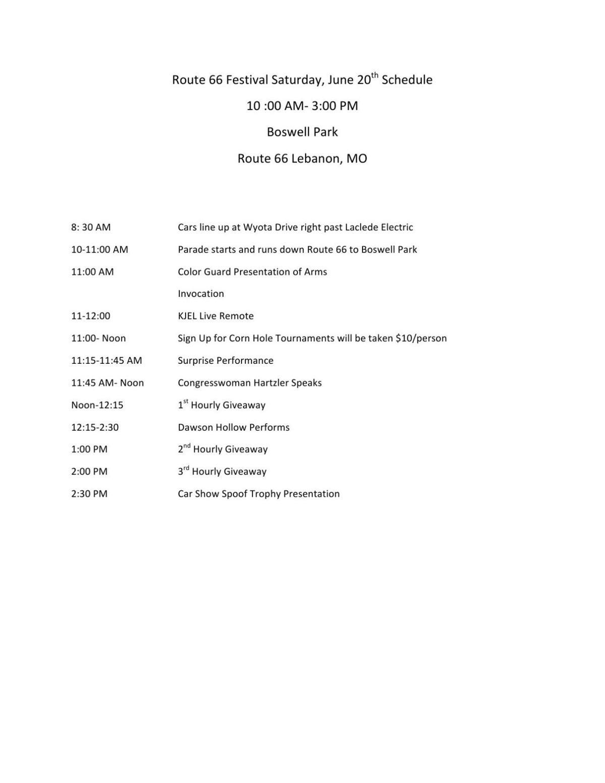 Route 66 Festival schedule