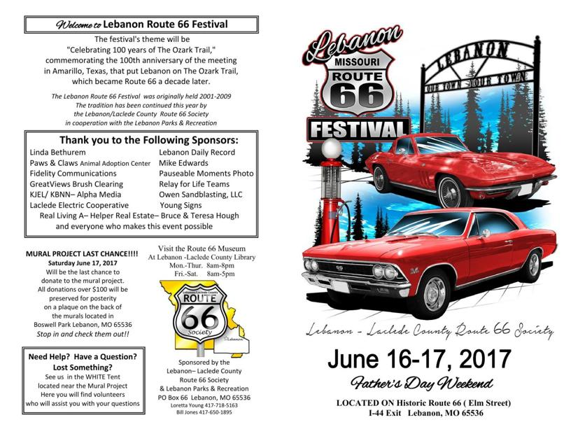 Schedule for 2017 Lebanon Route 66 Festival | Festival