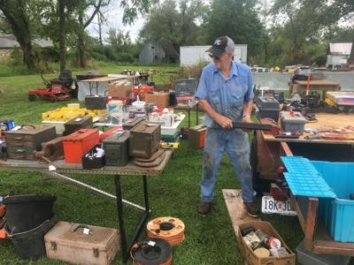 Setting up for Route 66 Yard Sale