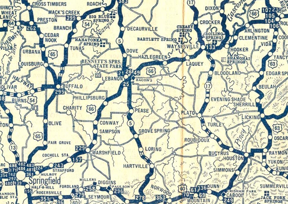 Route 66 Map Through Lebanon Circa 1930 Maps Lebanonroute66 Com