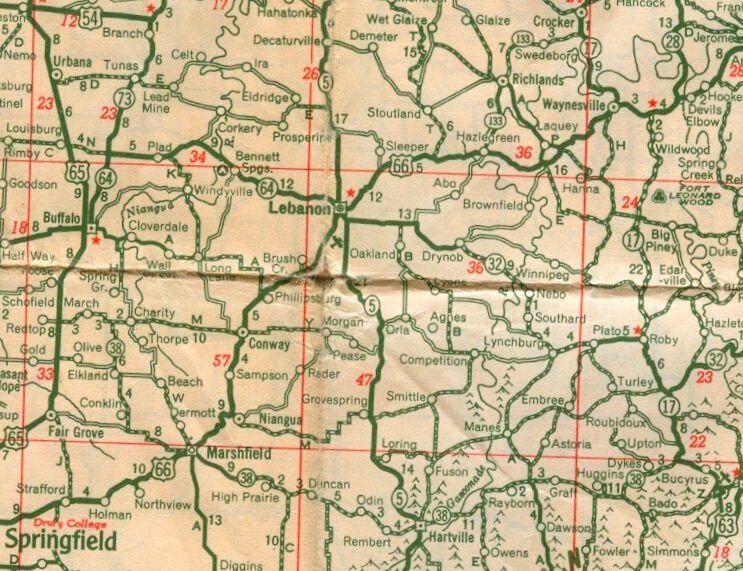 Old highway map shows Route 66 through area
