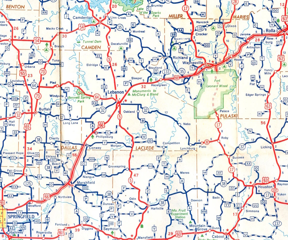 1956 map was last with twolane 66 in Laclede County Maps
