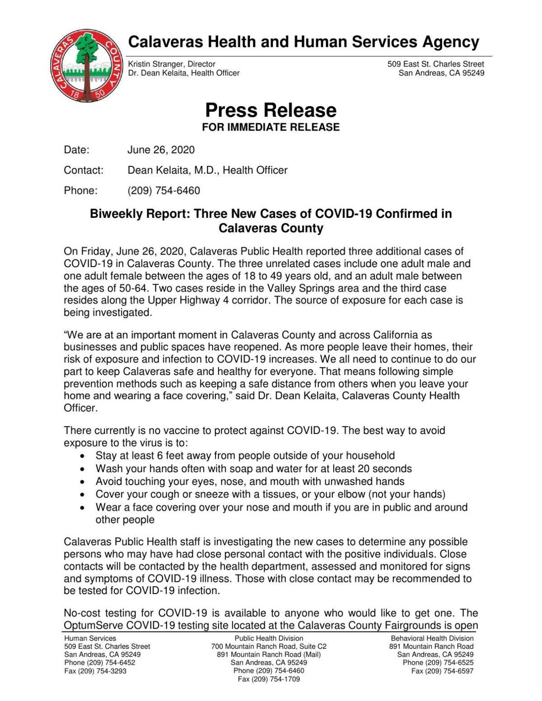 Calaveras COVID-19 Cases (June 26, 2020)