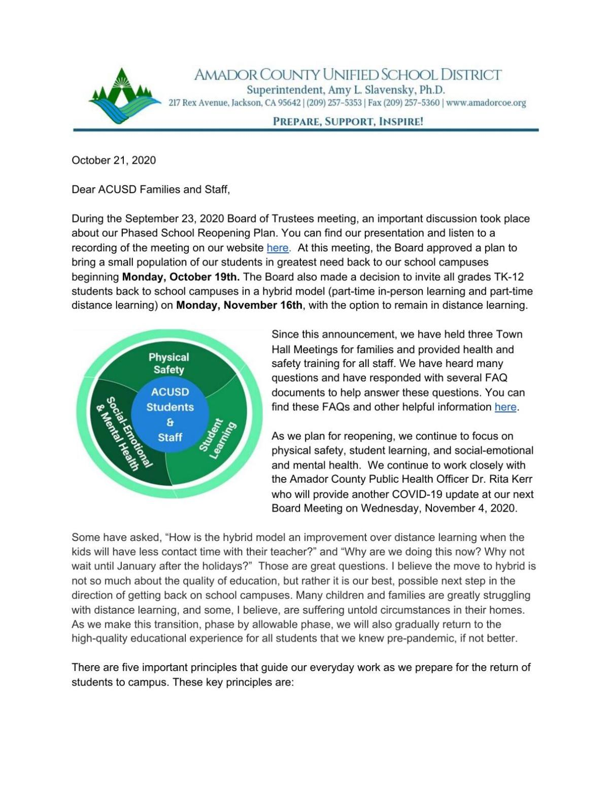 ACUSD Update: Bringing Students Back to School Campuses