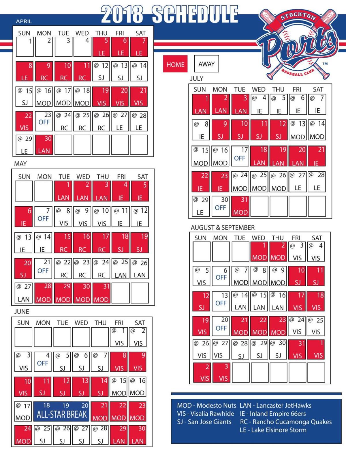stockton ports schedule | in the game | ledger.news