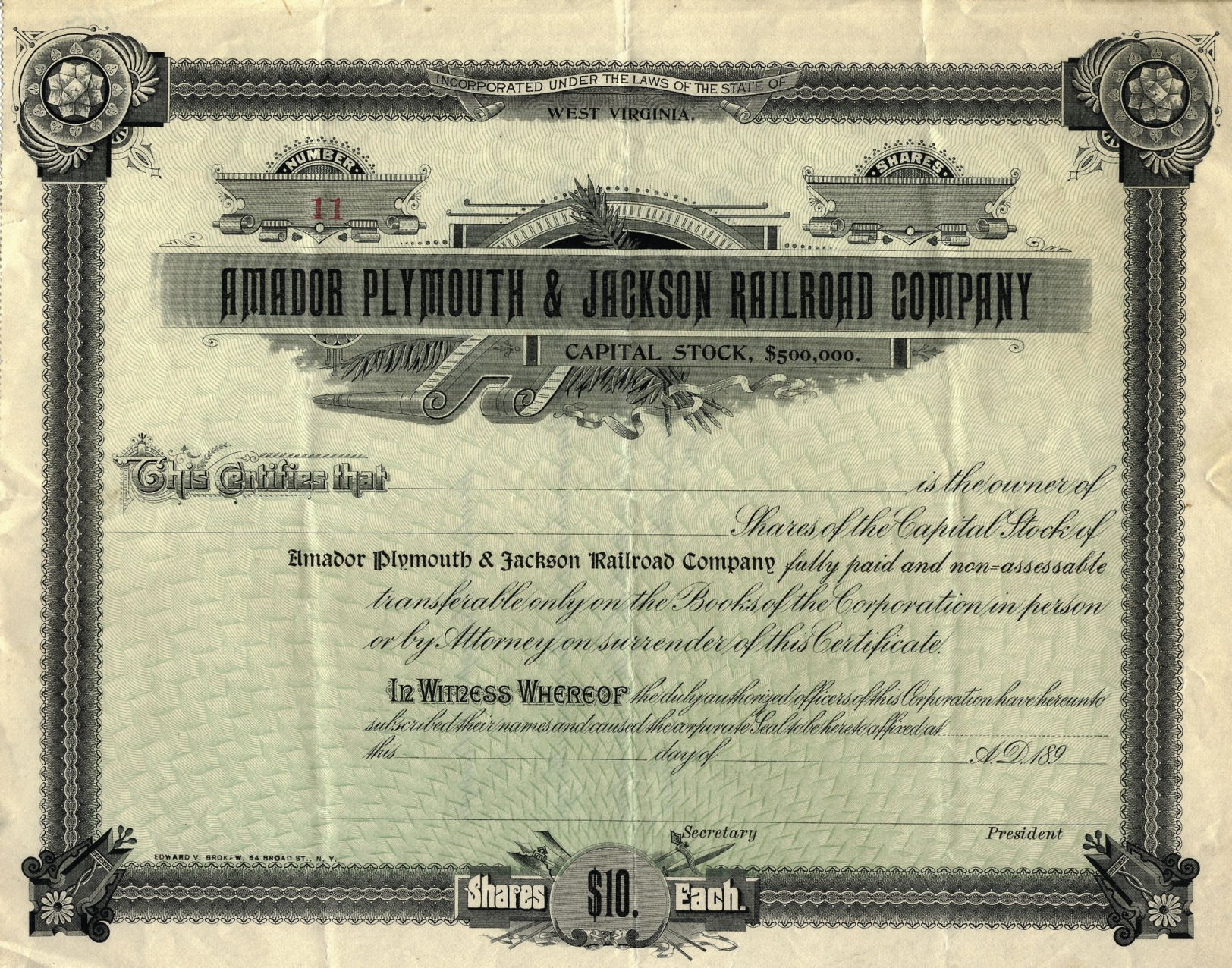 Industrial Mining Company /> Jackson Amador County California stock certificate