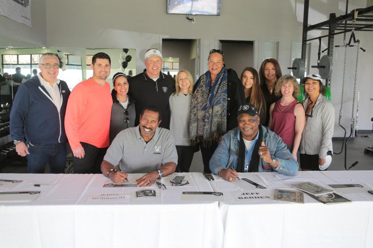 Former Raiders players Jerry Robinson and Jeff Barnes joined business partners Vance Mueller and Joe Shanley, along with Lissa Mueller and trainer Pamela Stroude and other patrons, to celebrate the Grand Opening of Mueller's Elite Training in Martell..JPG